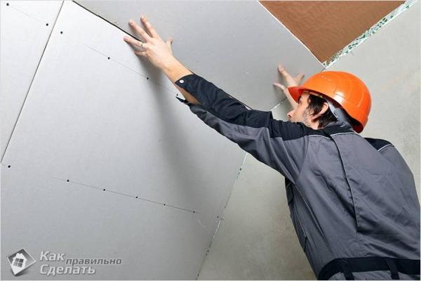 Как крепить гипсокартон к потолку — на деревянный и металлический каркас (+схемы)